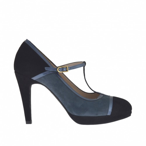 Woman's T-strap pump in aviation blue and black suede and aviation blue patent leather with platform heel 9 - Available sizes:  43