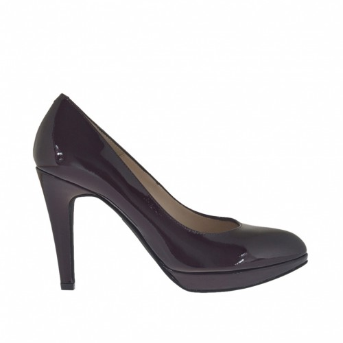 Woman's pump with platform in maroon patent leather heel 9 - Available sizes:  31, 32, 43, 44, 46