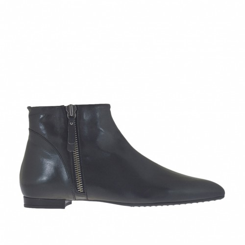 Woman ankle-high boot with zippers in black leather heel 1 - Available sizes:  43
