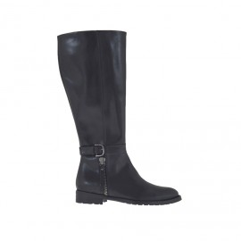 Damenstiefel mit innerem Reißverschluss und Schnalle in schwarzem Leder Absatz 2 - Verfügbare Größen:  33, 34, 43