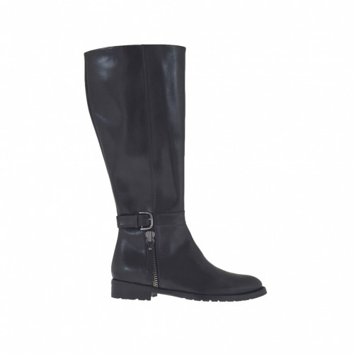 Woman's boot with inner zipper and buckle in black leather heel 2 - Available sizes:  33, 34