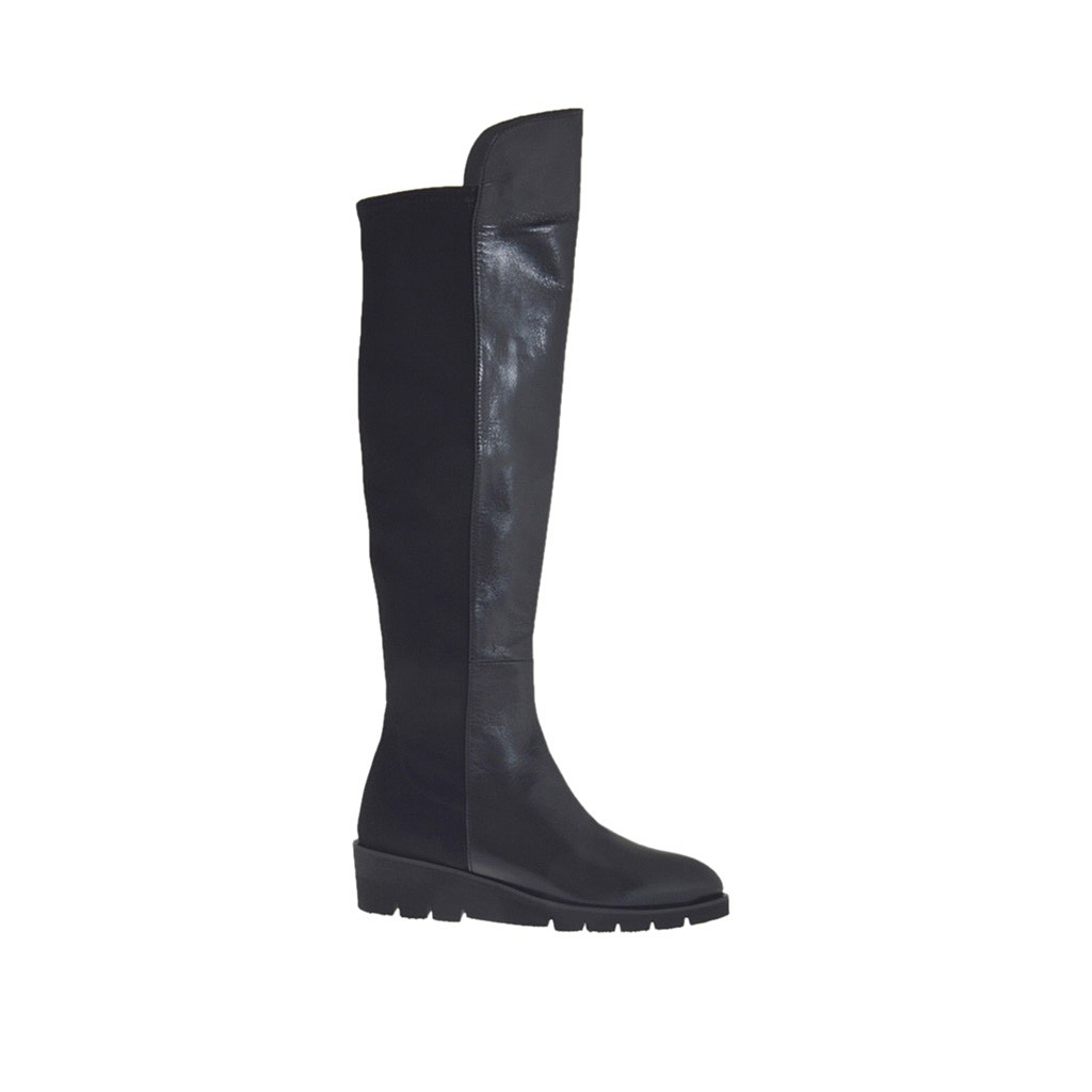 s boot in black leather and elastic fabric wedge