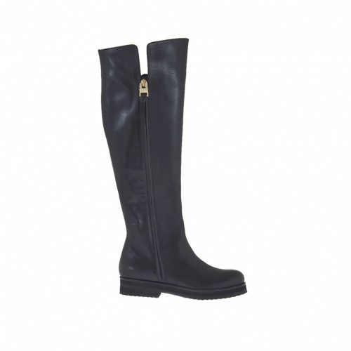 Woman's boot with zippers in black leather heel 3 - Available sizes:  33, 42, 43