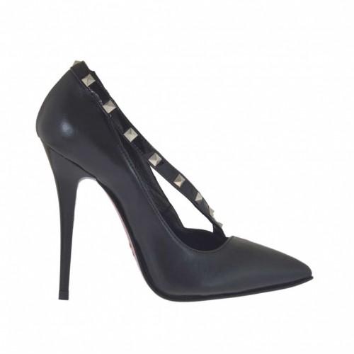 Damenpump mit Riemchen aus schwarzem Leder und Lackleder mit Nieten Absatz 10 - Verfügbare Größen:  42