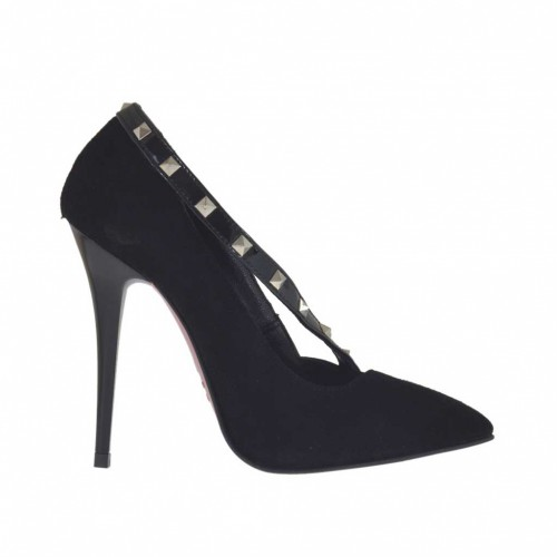 Escarpin pour femmes en daim noir avec courroie en cuir verni avec goujons talon 10 - Pointures disponibles:  32, 34, 42, 43, 44, 45