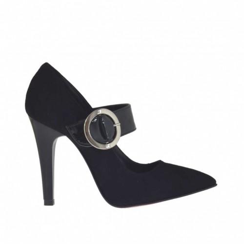 Escarpin pour femmes avec courroie en daim et cuir verni noir talon 9 - Pointures disponibles:  32, 42, 43