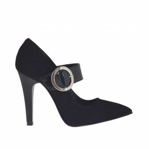 Woman's pump with strap in black suede and patent leather heel 9 - Available sizes:  32, 42, 43
