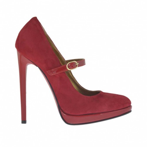 Woman's platform pump in red suede and patent leather with strap heel 11 - Available sizes:  31, 42