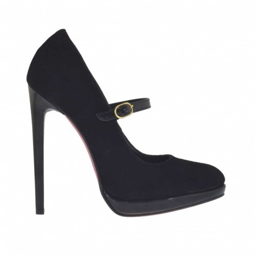 Woman's platform pump in black suede and patent leather with strap heel 11 - Available sizes:  42