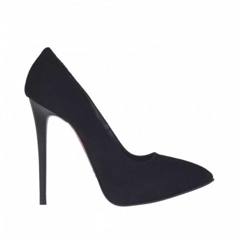 Escarpin pour femmes avec plateforme en daim noir talon 11 - Pointures disponibles:  42