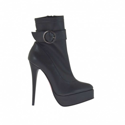 Woman's ankle boot with buckle, zipper and platform in black leather and elastic leather heel 12 - Available sizes:  42