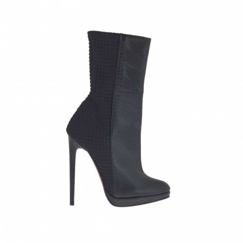 Woman's ankle boot with zipper and platform in black leather and elastic fabric heel 12 - Available sizes:  32