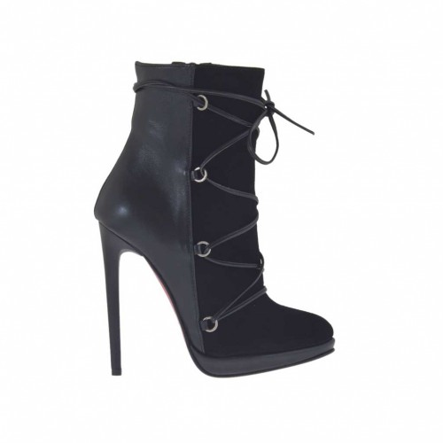 Woman's ankle-boot with lace, zipper and platform in black leather and suede heel 11 - Available sizes:  32, 42