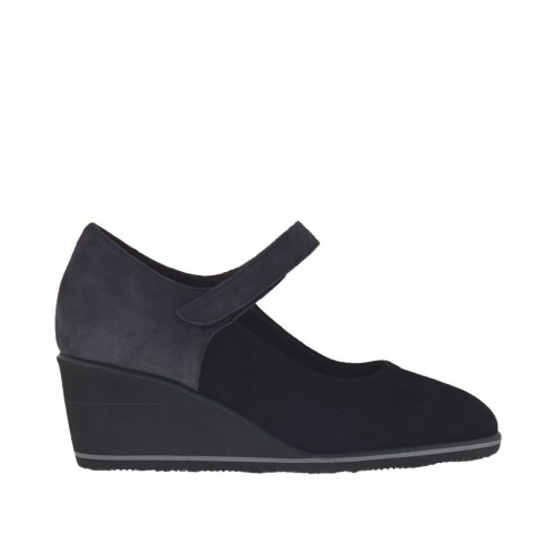Woman's pump with velcro and platform in black and grey suede wedge heel 5 - Available sizes:  43, 44