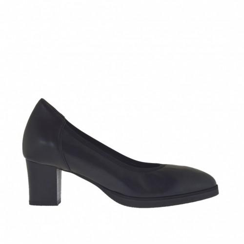 Escarpin pour femmes en cuir noir avec plateforme et talon 5  - Pointures disponibles:  45