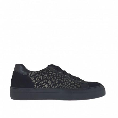 Chaussure sportif pour femmes à lacets en cuir noir et daim or scintillant talon compensé 4 - Pointures disponibles:  42