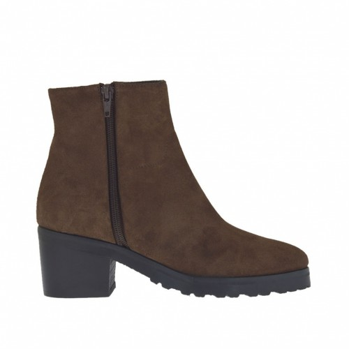 Woman's ankle-high boot with side zippers in brown suede with heel 6 - Available sizes:  47