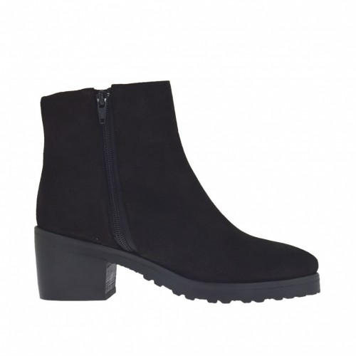 Woman's ankle-high boot with side zippers in black suede with heel 6 - Available sizes:  45, 47