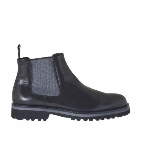 Bottines pour hommes en cuir noir et avec élastiques latérales gris  - Pointures disponibles:  47