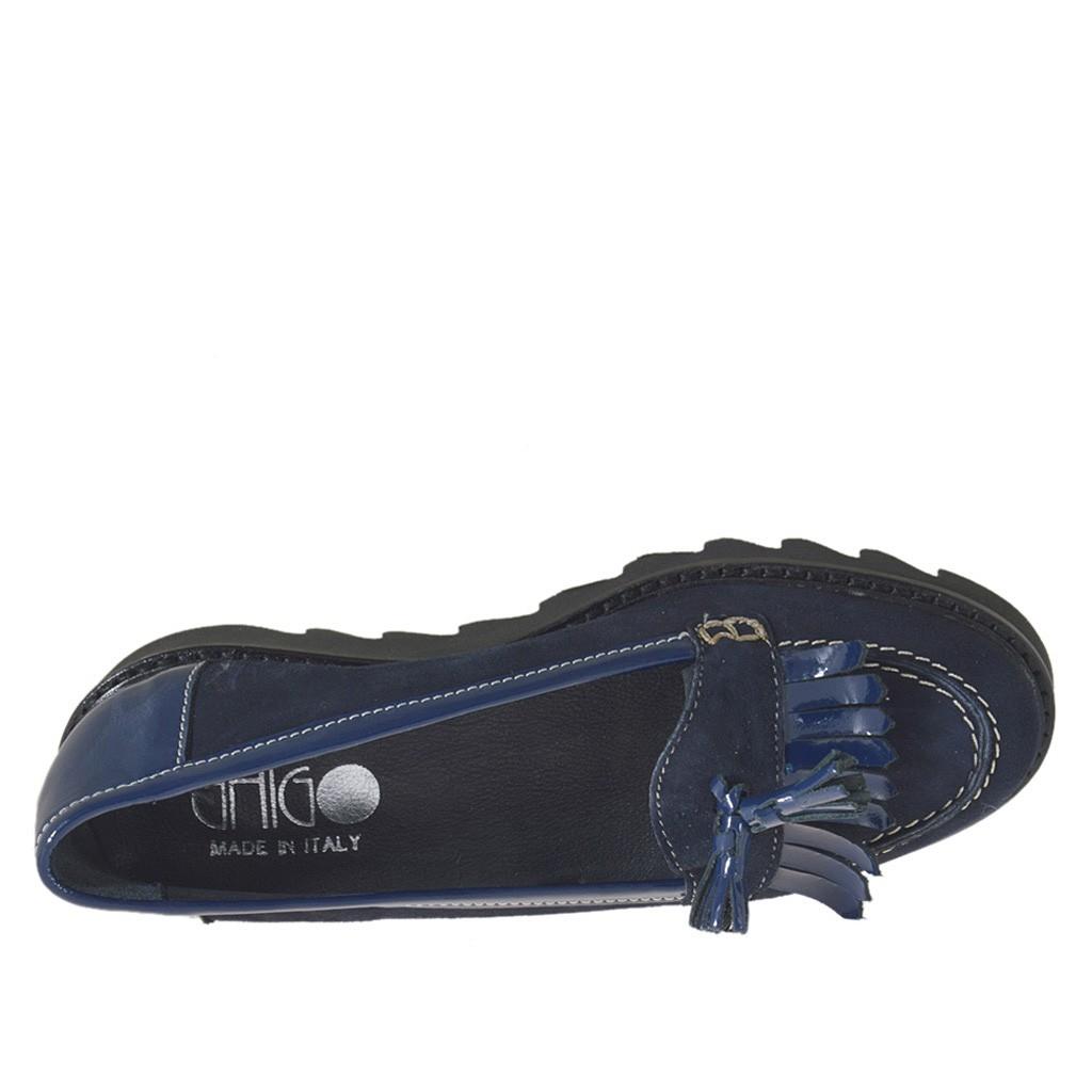 ... Mokassin für Damen mit Fransen und Quasten aus blauem Wildleder und Lackleder  Keilabsatz 3 - Verfügbare 230d967a71