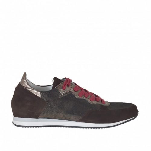 Chaussure sportif pour femmes avec lacets rouge en cuir imprimé bronze et cuivre brillant et daim marron avec talon compensé 2 - Pointures disponibles:  42, 44, 45