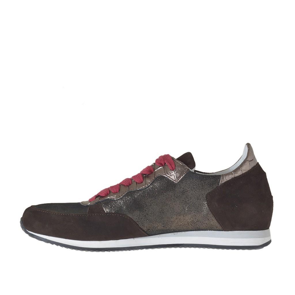 chaussure sportif pour femmes avec lacets rouge en cuir imprim bronze et cuivre brillant et. Black Bedroom Furniture Sets. Home Design Ideas