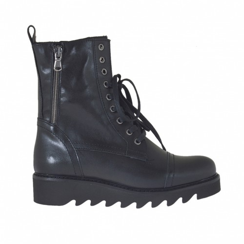 Woman's laced ankle-high combat boots with zipper in black leather wedge heel 3 - Available sizes:  45