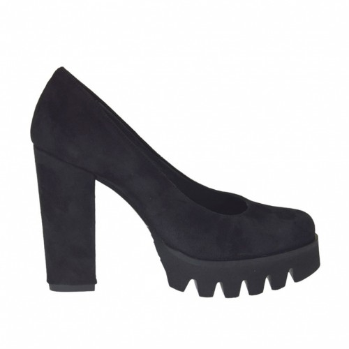 Woman's pump in black suede heel 9 - Available sizes:  47