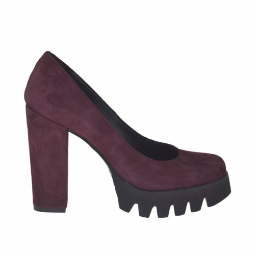Woman's pump in maroon suede heel 9  - Available sizes:  31, 42, 43