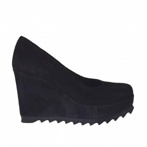 Escarpin pour femmes avec couvert talon compensé et plateforme en daim noir talon compensé 9 - Pointures disponibles:  42