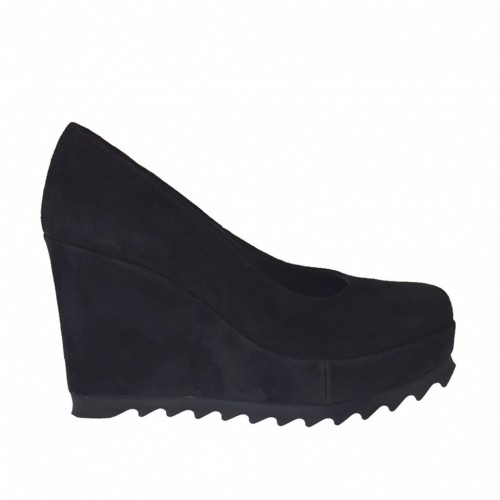 Woman's pump with coated wedge heel and platform in black leather with wedge heel 9 - Available sizes:  42
