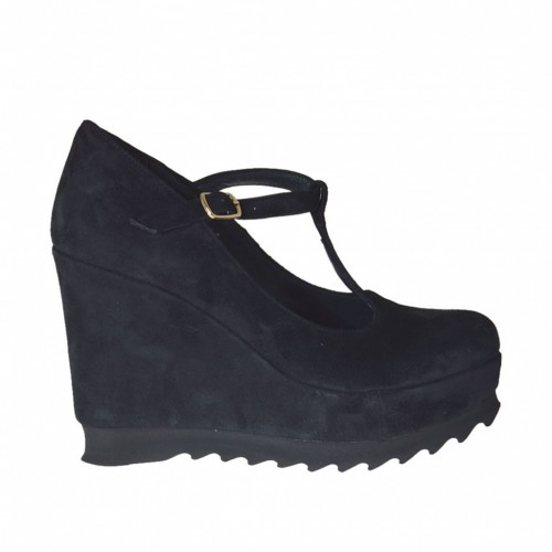 Woman's T-strap pump wit coated wedge and platform in black suede wegde heel 9  - Available sizes:  42, 43, 45, 46