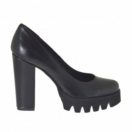 Escarpin pour femmes en cuir noir talon 9 - Pointures disponibles:  43