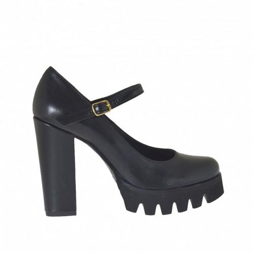 Escarpin Mary Jane pour femmes en cuir noir talon 9 - Pointures disponibles:  46