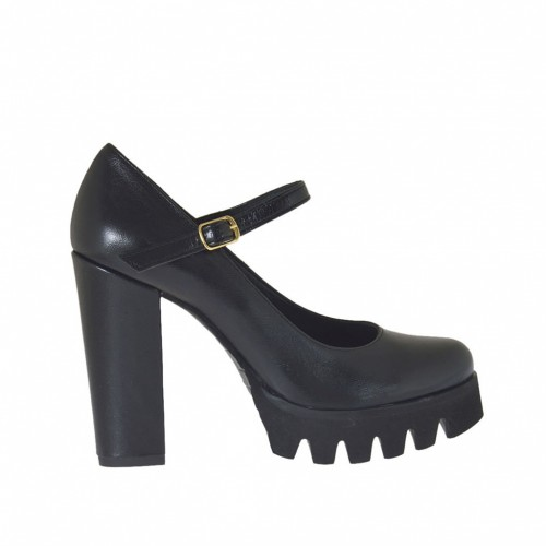 Woman's Mary Jane pump in black leather heel 9 - Available sizes:  46
