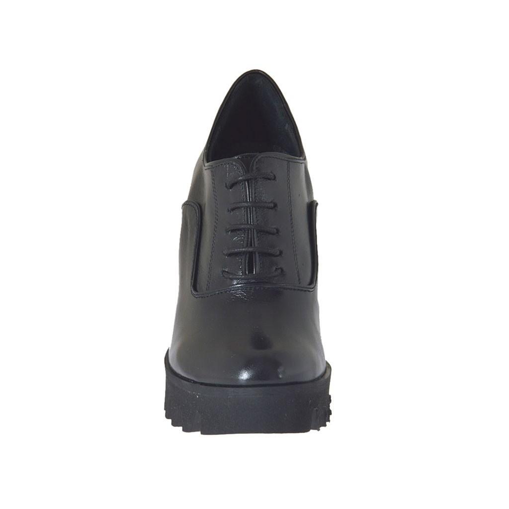 Noir En Avec Cuir Chaussure Richelieu Lacets Femmes Pour xX6Zn0qSU