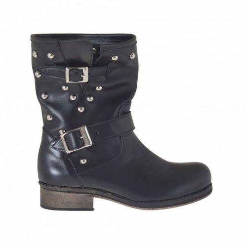 Woman's ankleh boot with buckles and studs in black leather heel 2 - Available sizes: 33