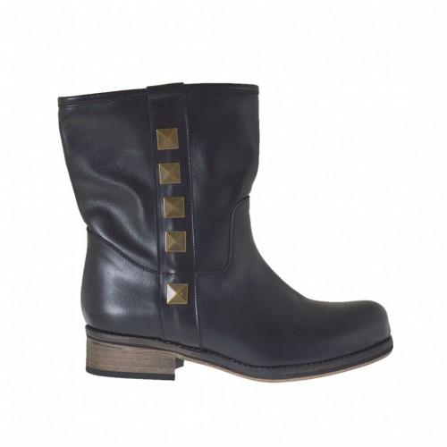 Bottines pour femmes avec goujons en cuir noir et talon 2 - Pointures disponibles:  34
