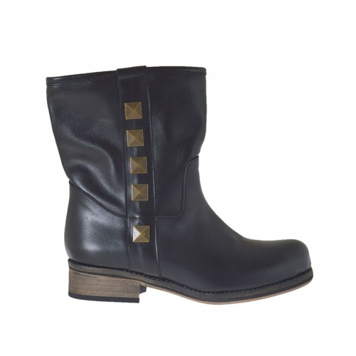 Woman's ankle-high boot with studs in black leather with heel 2 - Available sizes:  34