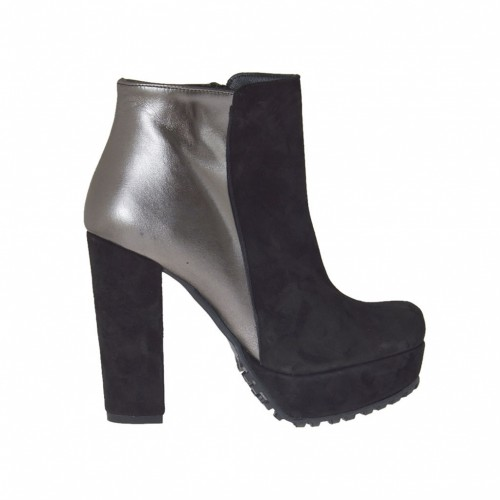 Woman's ankle-high boot with zipper and platform in black suede and laminated lead-grey leather heel 10 - Available sizes:  42