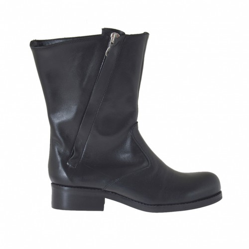 Woman's ankle-high boot with two zippers in black leather heel 2 - Available sizes:  34, 47