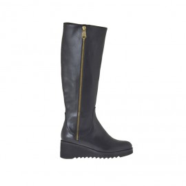 Woman's boot with zipper in black leather with wedge heel 5 - Available sizes: 42, 43