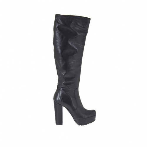 Woman's boot with platform and zipper in black leather heel 10 - Available sizes:  43