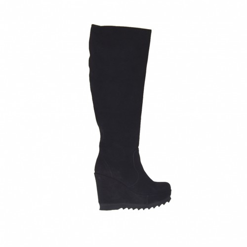 Botas para mujer con cremallera y plataforma en gamuza de color negro cuña 9 - Tallas disponibles:  42, 43