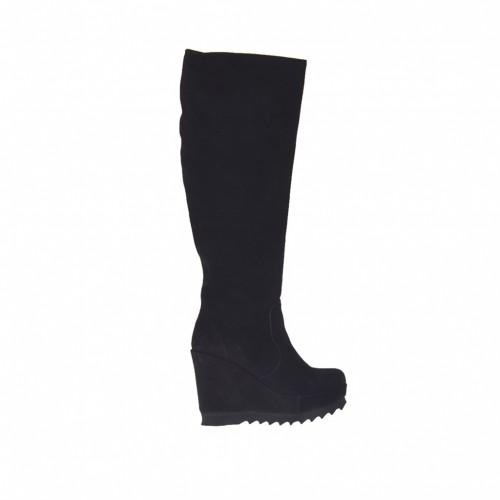 Bottes pour femmes avec fermeture éclair et plateforme en daim noir talon compensé 9 - Pointures disponibles:  42