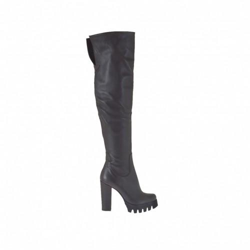 Schenkelhoher Damenstiefel aus dunkelbraunem Leder Absatz 9 - Verfügbare Größen:  31, 33, 34, 42, 43