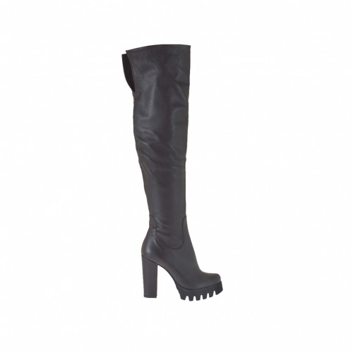 Woman's over the knee boot in dark brown leather heel 9 - Available sizes:  31, 42