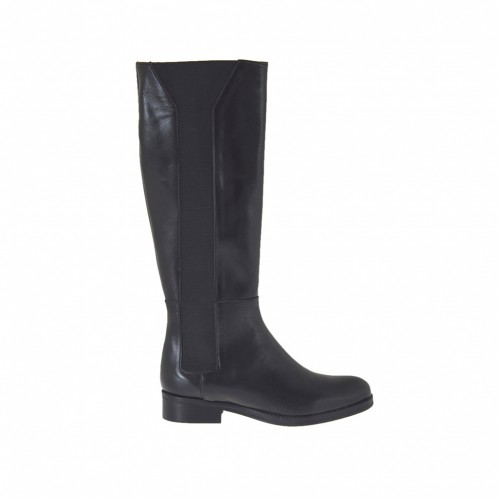 Woman's boot in black leather with lateral elastic bands heel 2 - Available sizes:  46
