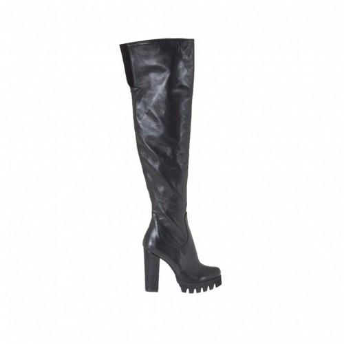 Bottes au-dessus de genou pour femmes en cuir noir talon 9 - Pointures disponibles:  31, 32, 34, 43