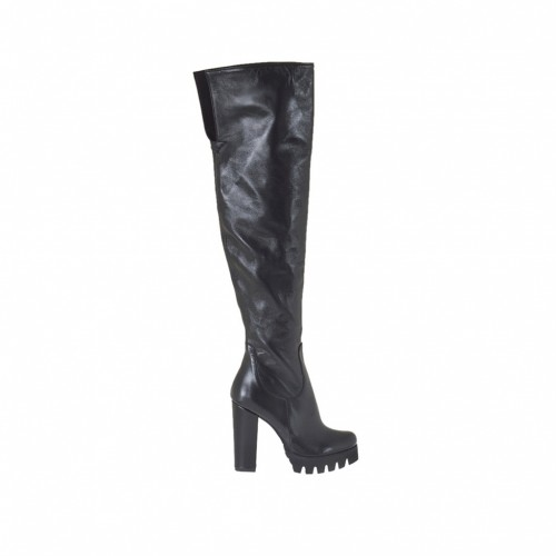 Woman's over the knee boot in black leather heel 9 - Available sizes:  31, 34